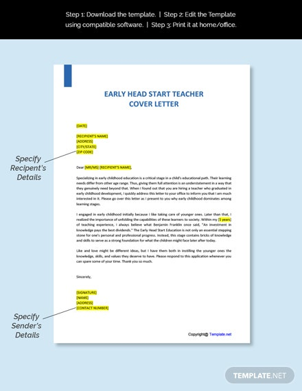 Early Head Start Teacher Cover Letter Template