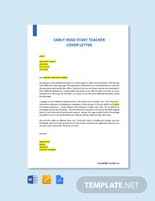 Free Early Head Start Teacher Cover Letter Template