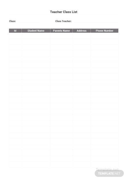Free Class List Template for Teachers