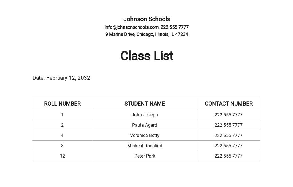 Free Class List Template for Teachers