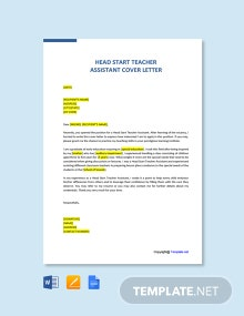 Free Head Start Teacher Assistant Cover Letter Template