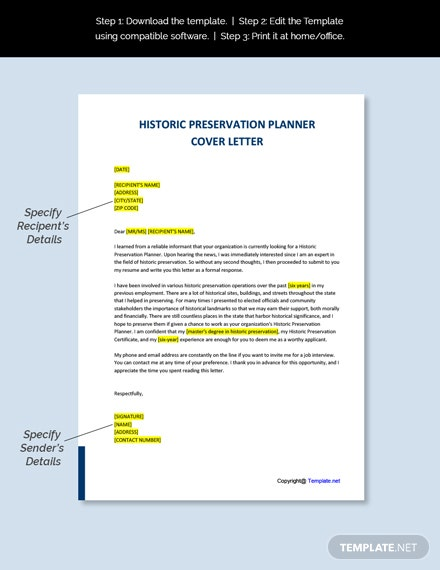 Historic Preservation Planner Cover Letter Template