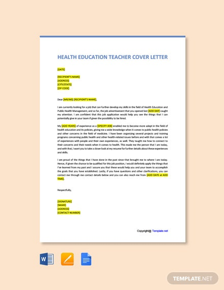 Free Health Education Teacher Cover Letter Template