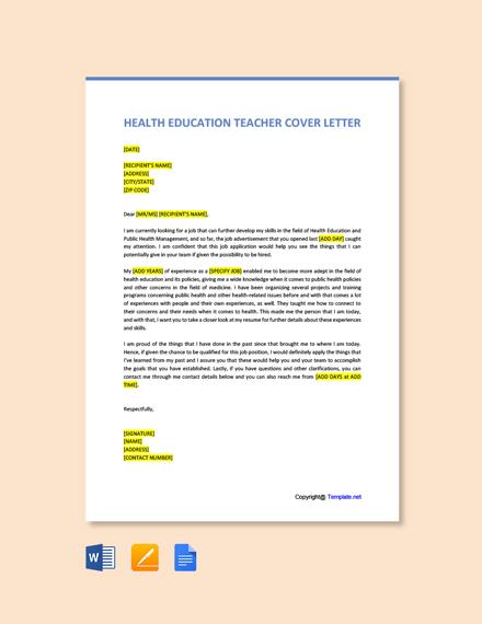 Free Health Education Teacher Cover Letter Template