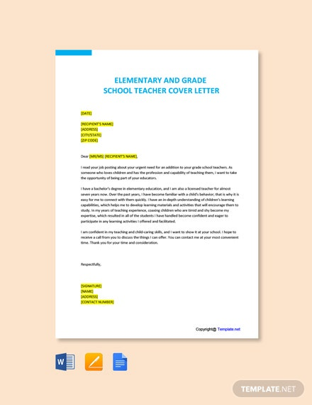 Free Elementary and Grade School Teacher Cover Letter Template