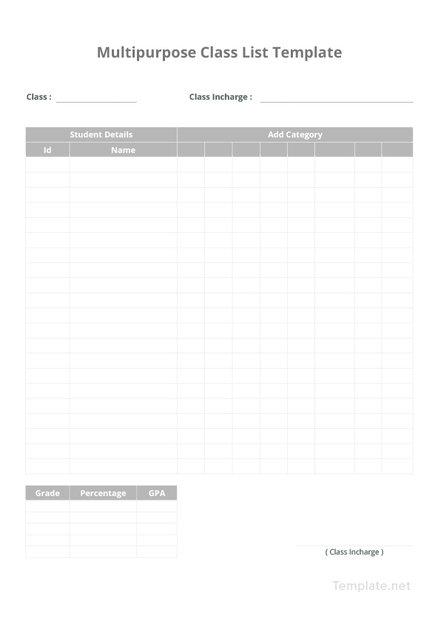 Multipurpose Class List Template
