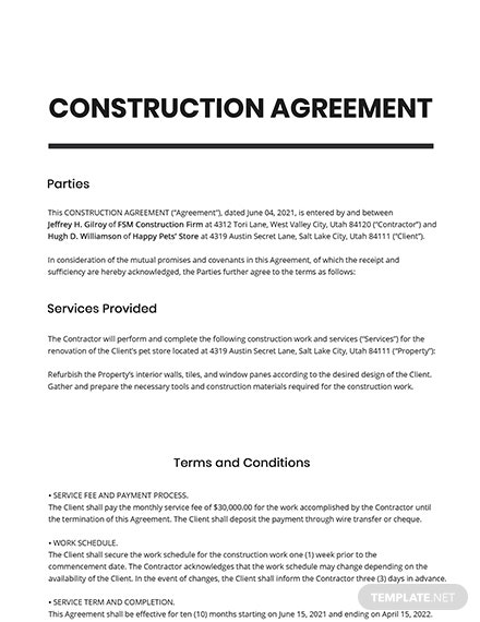 Editable Construction Agreement Template