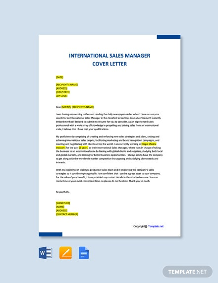 Free International Sales Manager Cover Letter Template