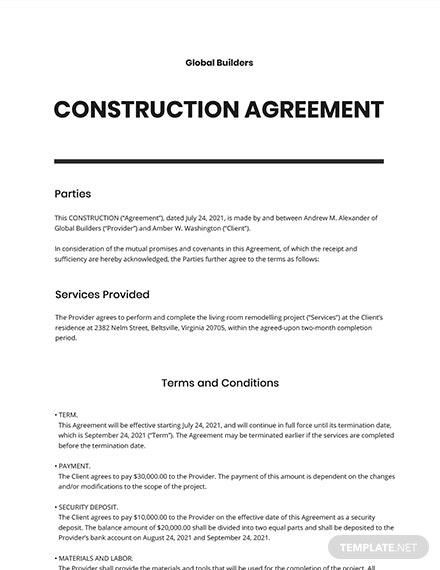 Printable Construction Agreement Template