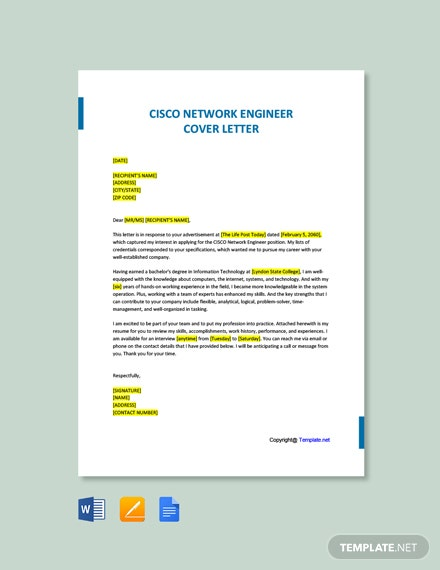 Free Cisco Network Engineer Cover Letter Template