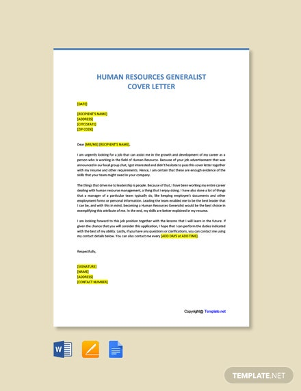 Free Human Resources Generalist Cover Letter Template