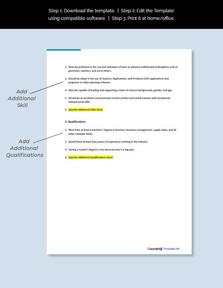 Planner Job Description Template
