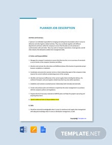 Free Planner Job Description Template