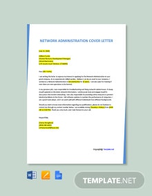 Free Network Administration Cover Letter Template