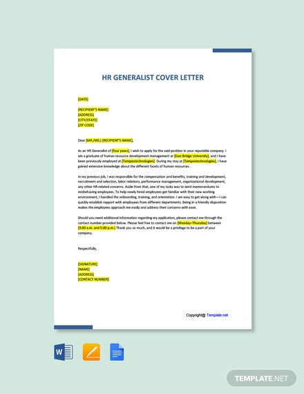 Free HR Generalist Cover Letter Template