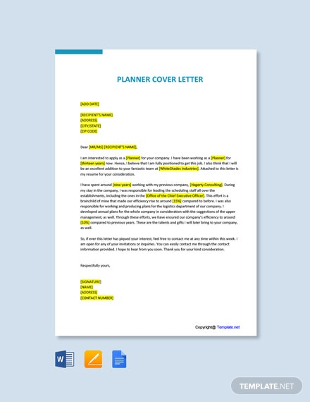Free Planner Cover Letter Template