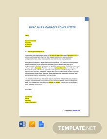Free HVAC Sales Manager Cover Letter Template