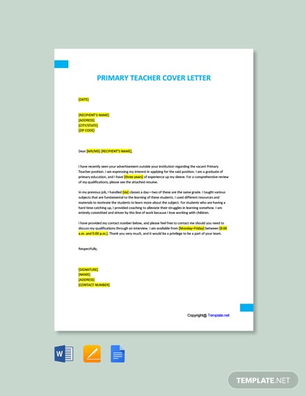 Free Primary Teacher Cover Letter Template