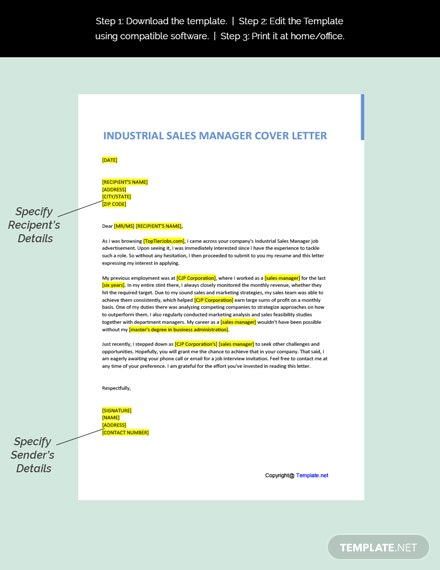 Industrial Sales Manager Cover Letter Template