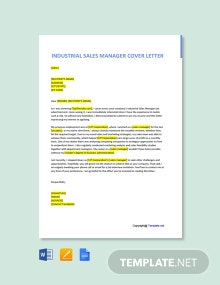 Free Industrial Sales Manager Cover Letter Template