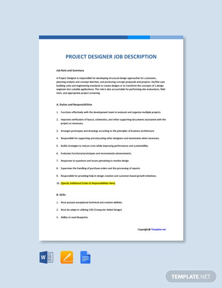 Free Project Designer Job Ad/Description Template