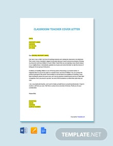 Free Classroom Teacher Cover Letter Template