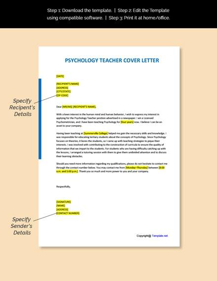 Psychology Teacher Cover Letter Template