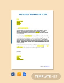 Free Psychology Teacher Cover Letter Template