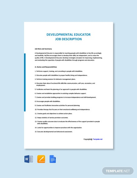 Free Developmental Educator Job Ad/Description Template