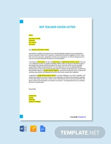 Free RSP Teacher Cover Letter Template
