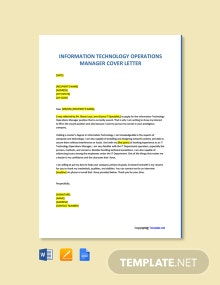 Free Information Technology Operations Manager Cover Letter Template