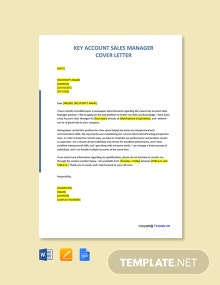 Free Key Account Sales Manager Cover Letter Template