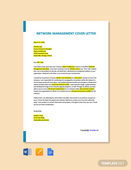 Free Network Management Cover Letter Template