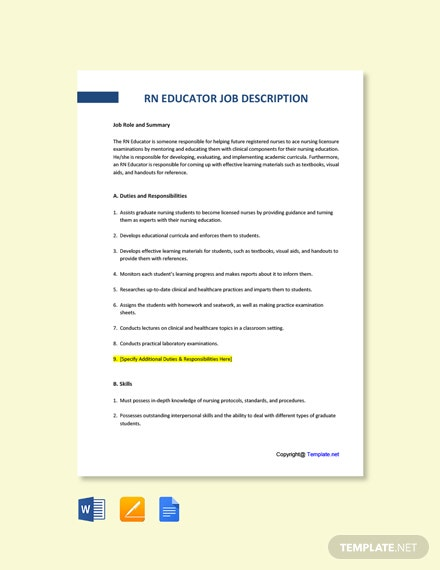 Free RN Educator Job Ad/Description Template