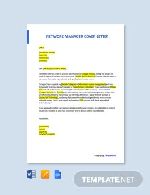 Free Network Manager Cover Letter Template
