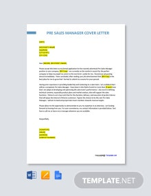 Free Pre Sales Manager Cover Letter Template