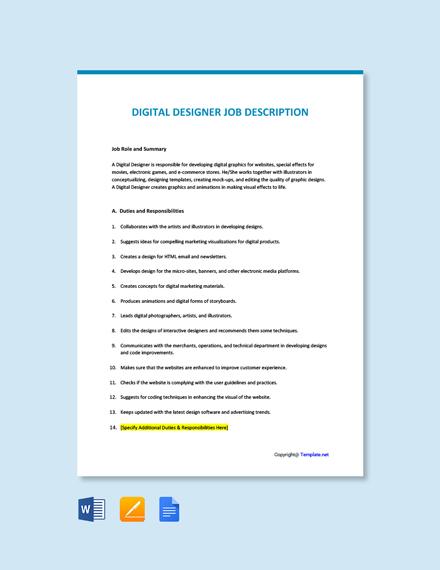 Free Digital Designer Job Description Template
