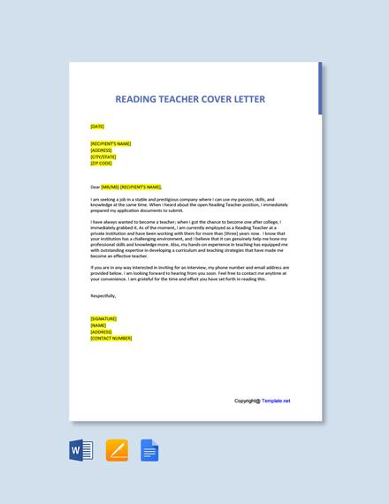 Free Reading Teacher Cover Letter Template