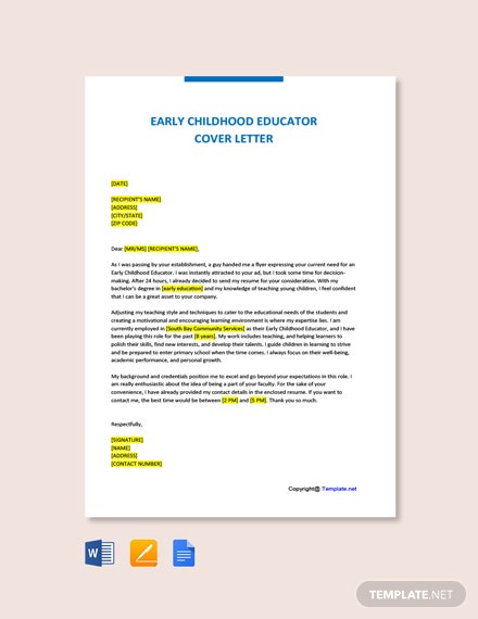 Free Early Childhood Educator Cover letter Template