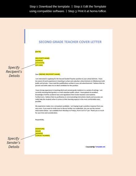 Second Grade Teacher Cover Letter Template