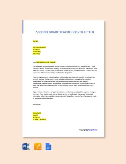 Free Second Grade Teacher Cover Letter Template