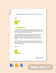 Free Second Grade Teacher Cover Letter Template
