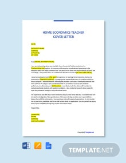 Free Home Economics Teacher Cover Letter Template