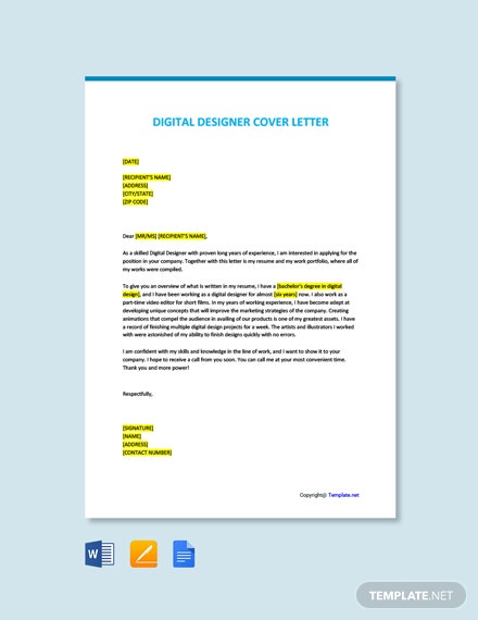 Free Digital Designer Cover Letter Template