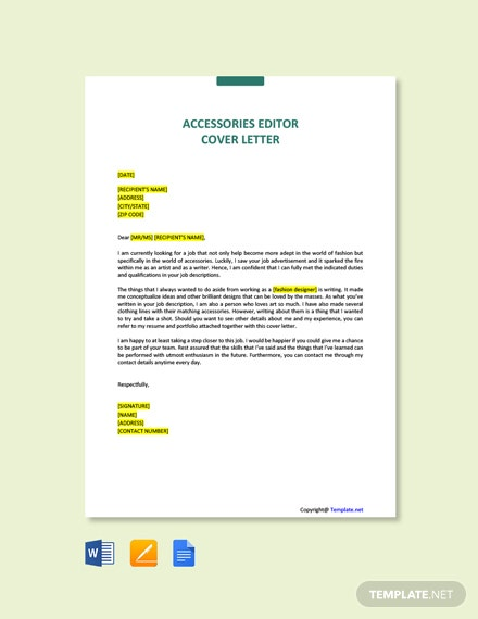 Free Accessories Editor Cover Letter Template
