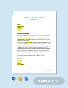Free Criminal Justice Teacher Cover Letter Template