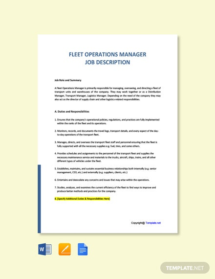 Free Fleet Operations Manager Job Description Template