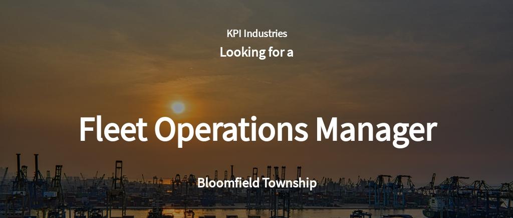 Fleet Operations Manager Job Ad/Description Template
