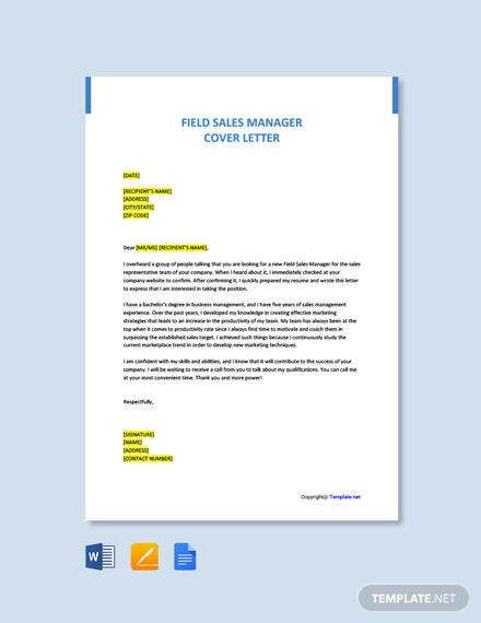 Free Field Sales Manager Cover Letter Template