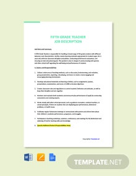 Free Fifth Grade Teacher Job Ad/Description Template